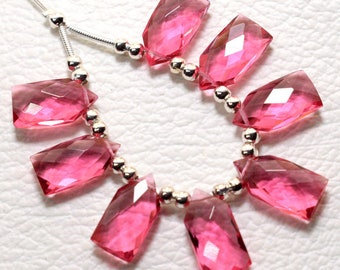 6 Pcs Rubelite Pink Quartz Faceted Long Pear Shaped Beads Faceted Pear Beads Size 30X10 MM