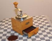 Vintage Coffee grinder mill antique PeDe holland coffee grinder Slow hand grinder for coffee Wooden coffee grinder Vintage kitchen