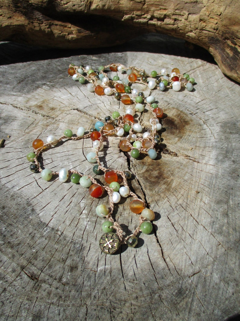 Long Colorful Mermaid Necklace with Pearls