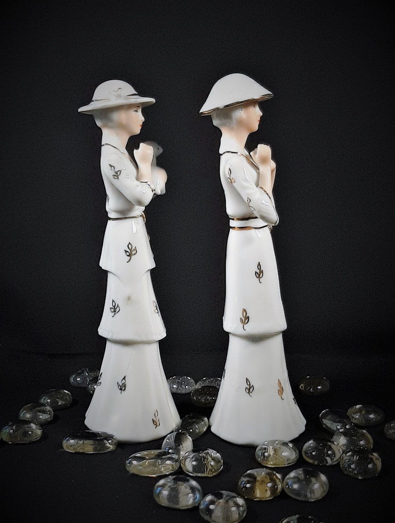 Vintage Gorgeous pair of Lady Figurines Vintage decor Collectible ceramic lady ornaments retro decor.Shelf accessory or great gift idea!