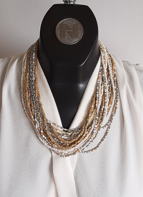 Great hammered metal pendand and earrings. and multi strand bracelet post earrings SET  lovely multi strand necklace