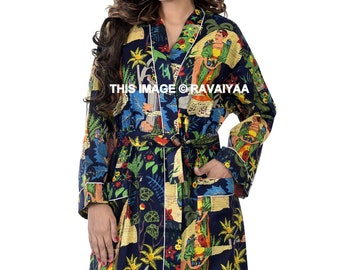 Frida Kimono Cotton Kimono Bathrobe Black Bathrobe Cardigan Nightwear Dressing Gown Beach Bikini Cover Up Indian Handmade Robe Unisex Robe