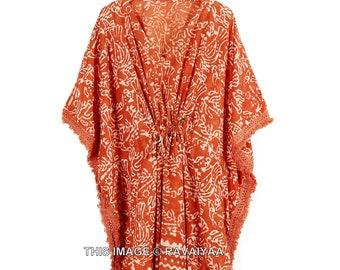 Hand Block Printed Kaftan, Indian Cotton Caftan, Lounge Wear, Beach Dress with Tassels, Nightwear, Comfy Dress, Maxi Dress, Maternity Wear