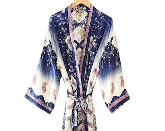 Indian Silk Kimono, Beach Wear Long Kimono Robe, Made From Vintage Silk Sari, Women's Fashion Silk Saree Bathrobe, Floral Night Wear Gown