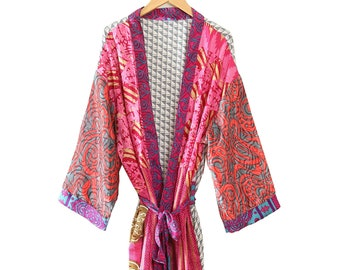 Handmade Abstract Print Kimono Beach Wear Sexy Robe Silk Kimono Bath Robe Indian Crepe Silk Saree Kimono Bathrobe For Women Bridesmaid Robe