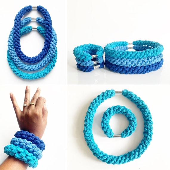 Necklace and Bracelet gift sets made with organic cotton rope, Gift sets for women, Soft Cotton Women's jewelry, Holiday Gifts for her