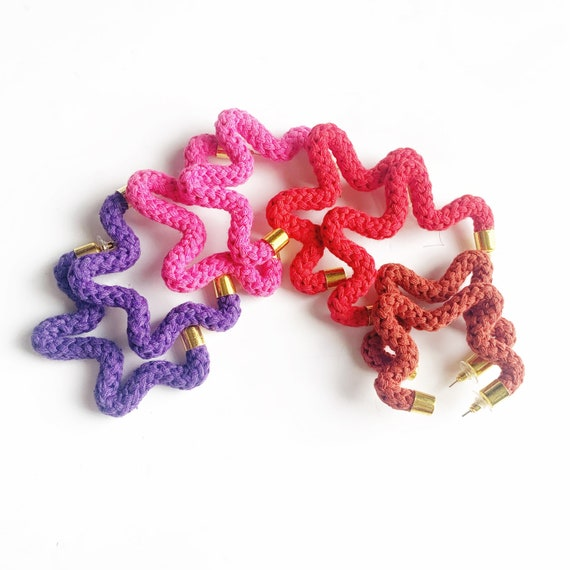 Star shaped colorful cotton earrings, Non-allergenic Star shaped Earrings, Earrings for Sensitive Ears, Gifts for Eco friendly friend