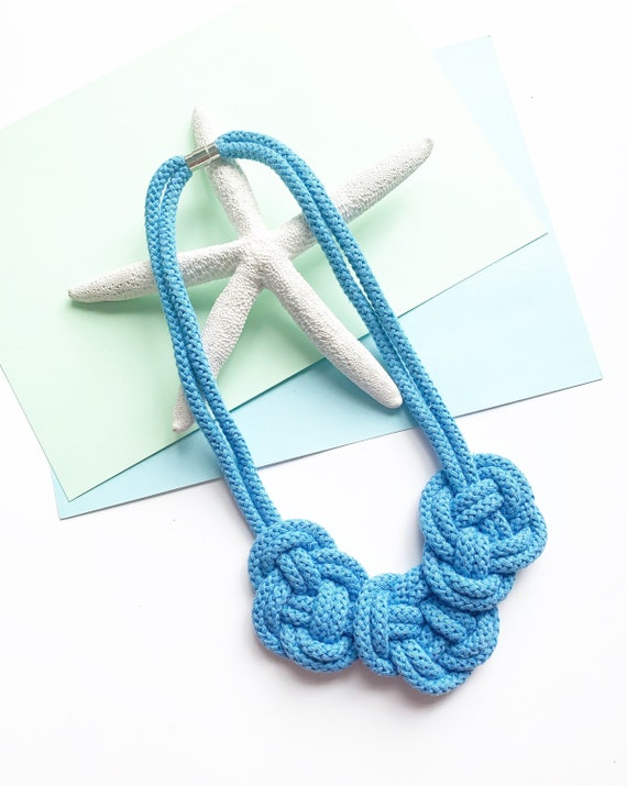 Rope Necklace Chunky Statement Handmade Jewelry Knotted Cotton Ecological Large Color Choices