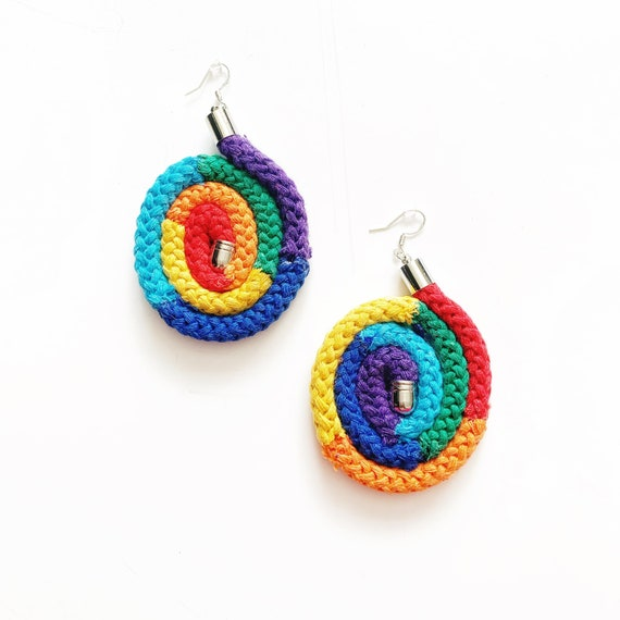 Weird Rainbow Statement Earrings, Funky Earrings, Unusual Earrings, Quirky Earrings, Art Earrings, Large earrings, Oversized Rainbow Earring