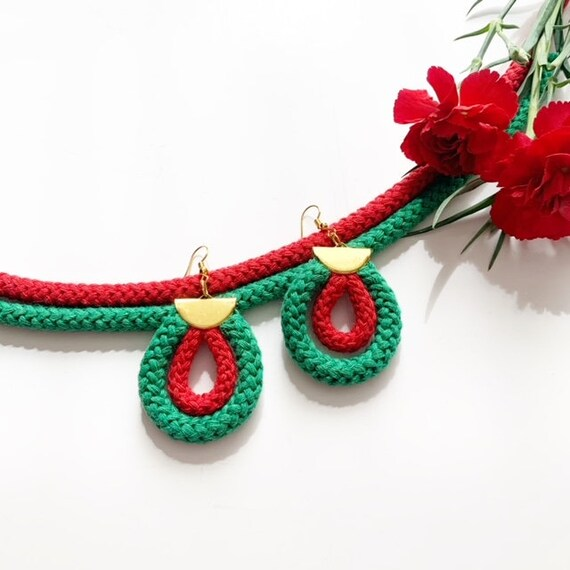 Teardrop shaped colorful cotton earrings | Non-allergenic Ecofriendly Cotton Earrings | Colorful Cotton Earrings | Gifts for vegan friend
