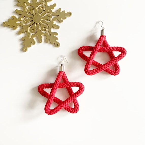 Christmas Star Earrings for women, Statement cotton rope danglers, Christmas gift ideas for girlfriends, Christmas Themed Jewelry gifts