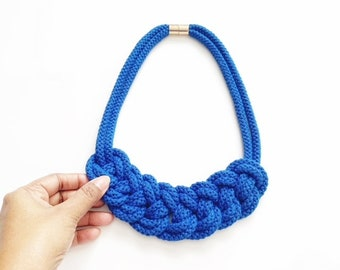 Color Block Knotted Cotton Rope Statement Necklace, Chunky Statement Handmade Jewelry, Cotton Rope Collar Ecological gift for girlfriends