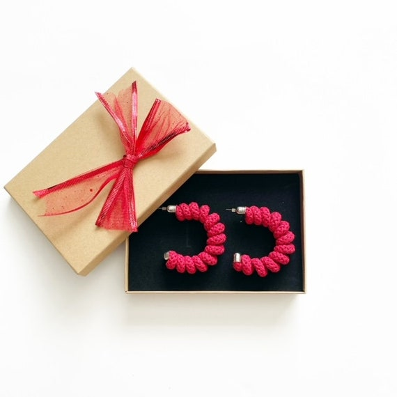 Colourful Statement Hoops made with wired Cotton, Rainbow Colour Options, Large Statement Hoops, Spring shaped colorful Cotton Earrings
