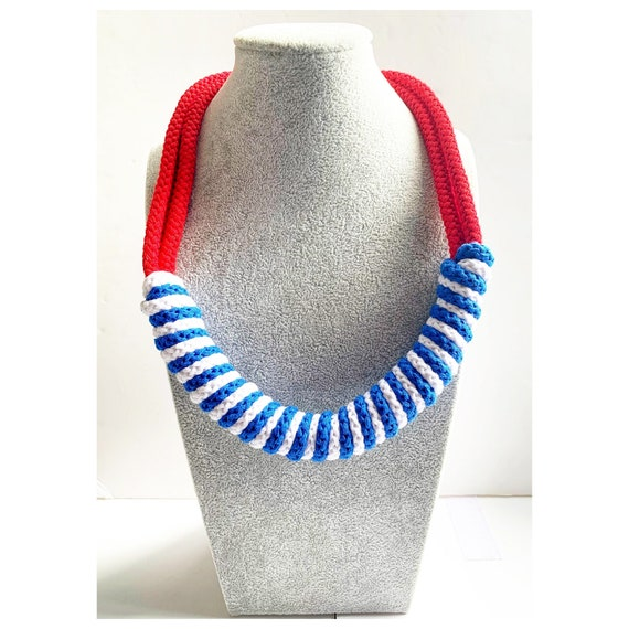 Blue Nautical Knotted Rope Knot Statement Necklace Chunky Statement Handmade Jewelry Cotton Rope Collar Ecological Large Color Choices