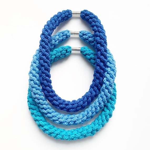 Blue Woven chokers made with soft cotton rope to create statement necklaces, 27 colour choices in necklaces for women, gift ideas for women