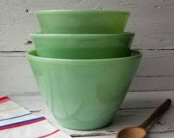 Fire King Collectible Green Milk Glass Vintage Jadite Mixing Batter Bowl Spout Handle Fire King Double Spout Jadeite Skillet Bowl