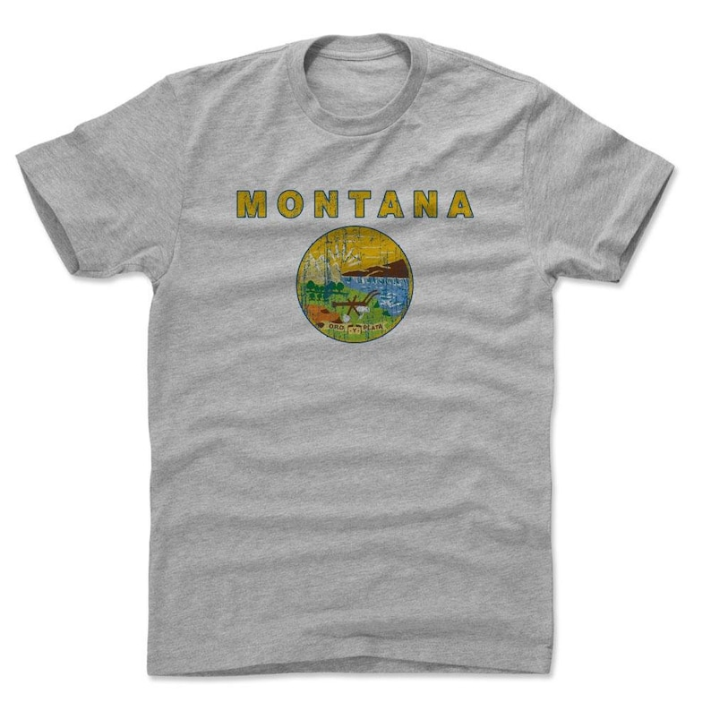Montana Men/'s Cotton T-Shirt Montana Lifestyle Montana Flag