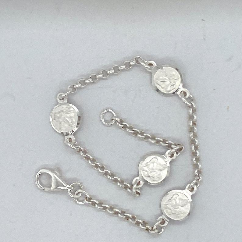 Handmade Cherub Angel Bracelet Sterling Silver Stationed  Cherub Angel Bracelet. Sterling Silver Bracelet