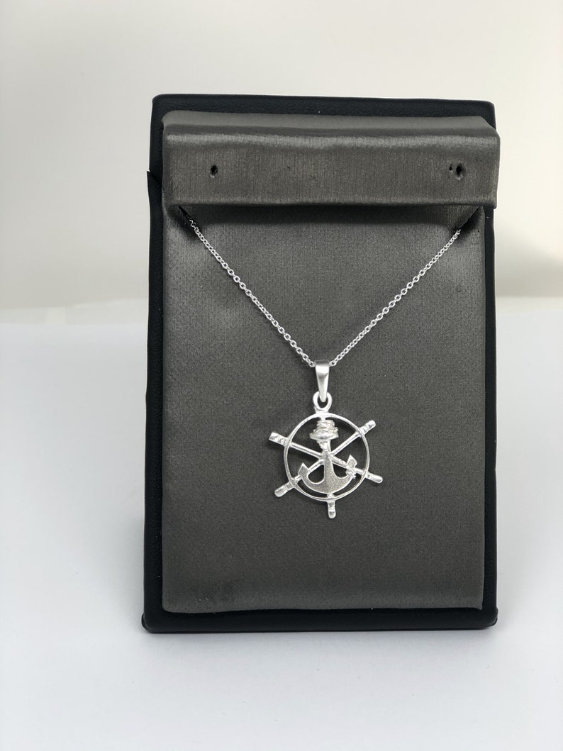925 Sterling Silver Necklace Brushed Finish Anchor Wheel Pendant 925 Sterling Silver Shimmering Anchor Wheel Necklace Pendant.