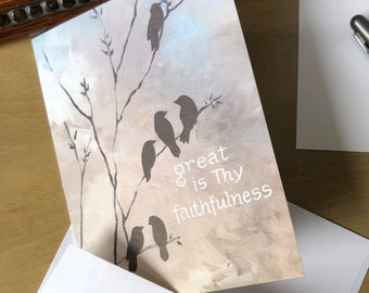 Faithfulness bird notecards, 4x5.5 folded blank, get well, encouragement, Great is Thy Faithfulness cards, sets of 8 or 18 w/env