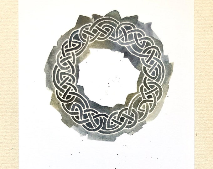 """Celtic Circle notecards in dark sage green, 4x6"""" heavyweight 14pt flat blank cards, set of 12 with white envelopes"""