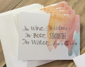 Wine Wisdom Beer Strength notecards, 4x5.5 folded blank fun bacteria watercolor cards, sets of 8 or 18 with env