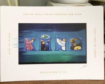 "And He Shall Reign, King of Kings painted artisan Christmas cards, 5x7"" heavyweight 14pt flat panel cards, set of 20"
