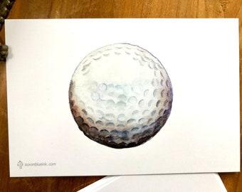 """Golf ball notecards, 4x6"""" heavyweight 14pt flat blank cards, set of 12"""