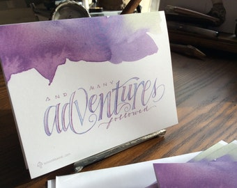And Many Adventures Followed notecards, 4x5.5 folded blank graduation, congratulations cards, sets of 8 or 18