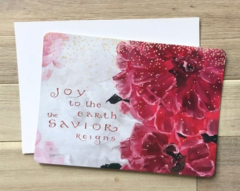 "Joy to the Earth red floral art Christmas cards, 5x7"" heavyweight 14pt rounded flat panel cards, set of 20"