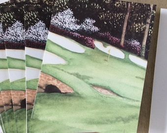 Augusta National notecards, 4x5.5 folded executive blank cards, sets of 8 or 18