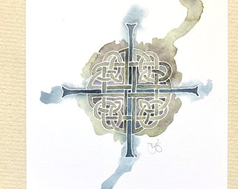 """Celtic Cross notecards in watercolor sage green, 4x6"""" heavyweight 14pt flat blank cards, set of 12"""