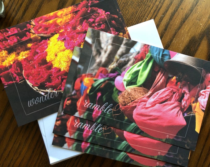 "Marketplace ""Wonder"" ""Ramble"" notecards, travel photography designs, 4x6"" hvyweight 14pt flat blank cards, set of 12 w/ env"