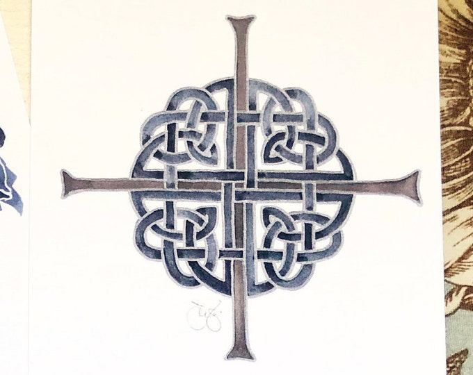 """Celtic Cross notecards in navy blue, brown & silver interlacing, 4x6"""" heavyweight 14pt flat blank cards, set of 12"""