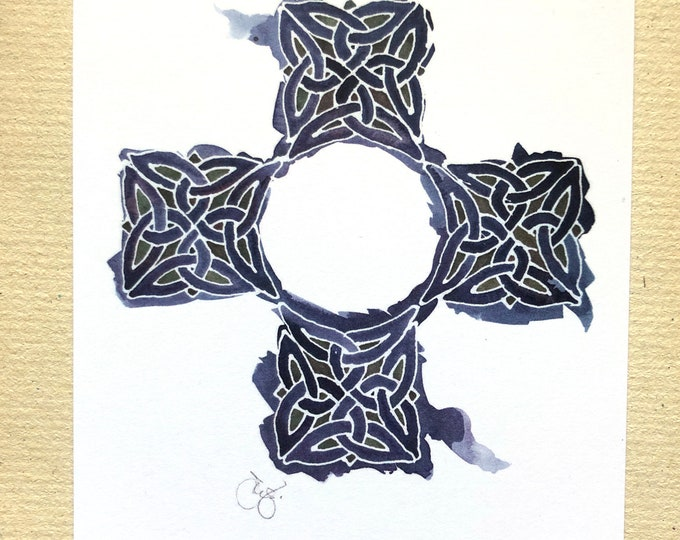 """Celtic Cross notecards in indigo blue watercolor, 4x6"""" heavyweight 14pt flat blank cards, set of 12"""