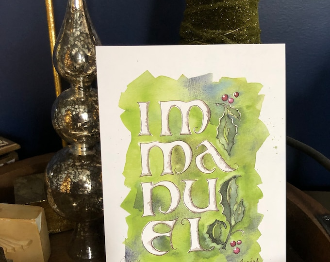 """Immanuel, oversized display Christmas art card, medieval watercolor, 6x9"""" ex-heavy 24 pt for decor or special loved one, ships FREE"""