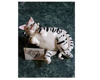 2001 Lacombe Annaco Stars /& Stripes PATRIOTIC CAT FIGURINE Retired NOS Whiskers