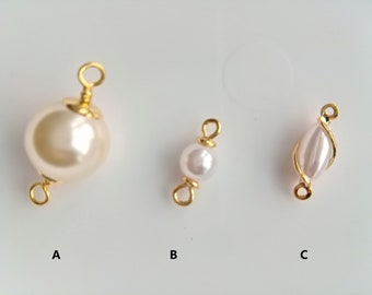 1pc Wire Wrapped Natual White Pearl Baroque Pearl Pendant Drop shape jewerly supplies