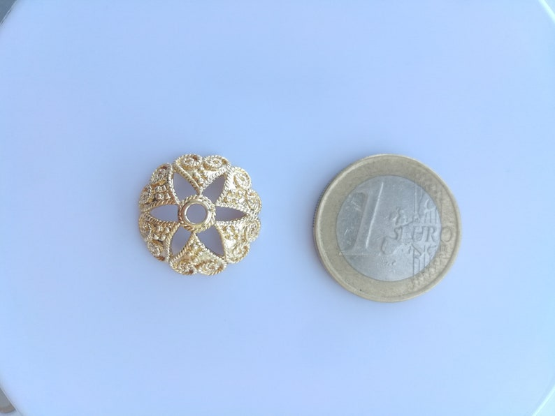 Wholesale gold plated large filigree bead caps jewelry making supplies 19x19mm petal flower bead cap