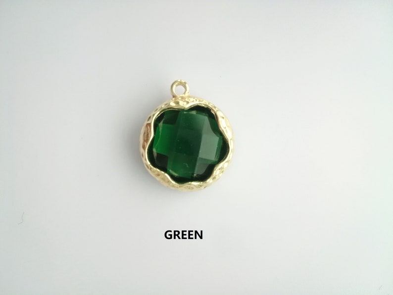 BULK 20  Green Glass Birthstone Teardrop Charms SC5043