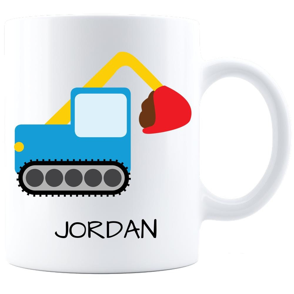 Backhoe Mug Personalized ! Custom Name Kids Cup BPA Free Personal Gift for Son Daughter Granddaughter Grandson Bucket Loader Construction Th for sale