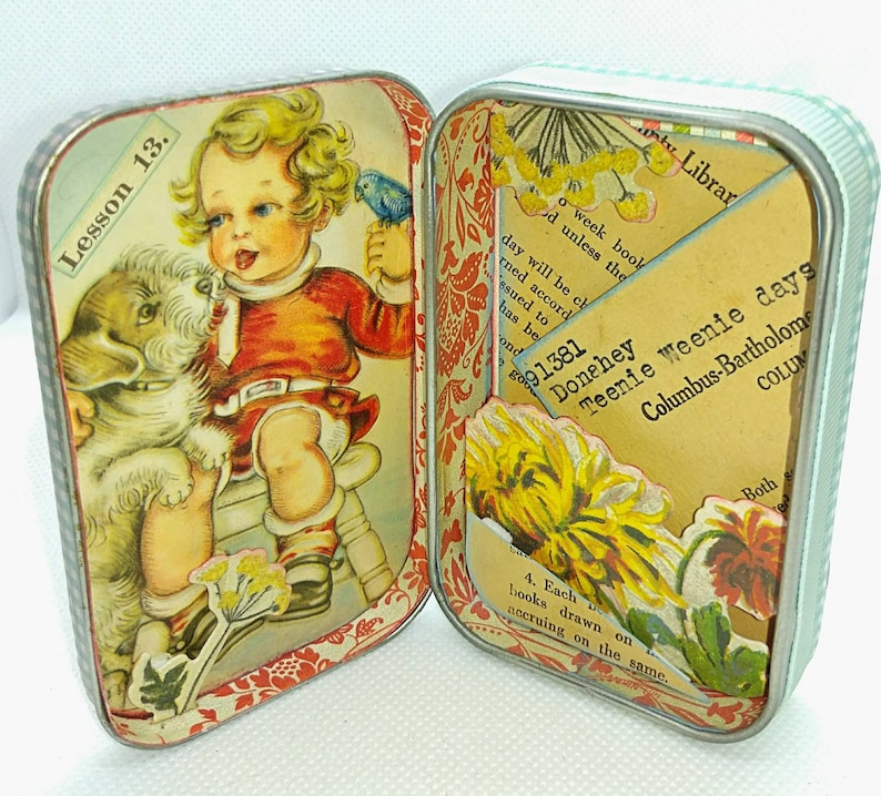 Little Girl Bird and Puppy Library Book Collage Tin