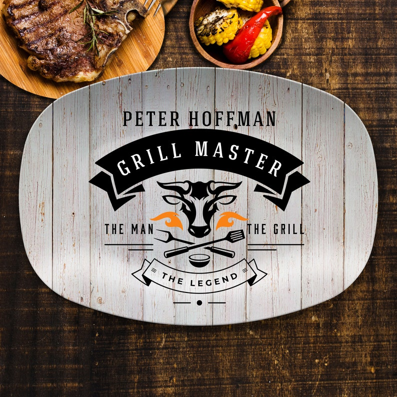 Personalized Grill Master BBQ Grilling Plate BBQ Gifts BBQ image 0