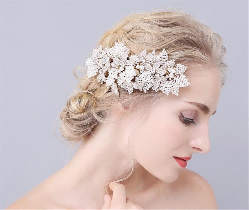 Bridal hair comb bridal hair piece hair clip bridal headpiece hair accessories hair comb bridal hair vine hair clips floral hair comb clips