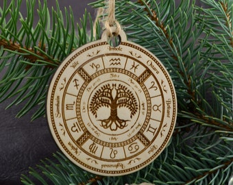 Yule Christmas Tree Pagan Deer Yuletide Wicca Themed Round Christmas Xmas Tree Skirt Carpet Mat Rugs Pad Party Favors Supplies Home Ornament Decoration 30 36 48 Inch Small Big Giant Large