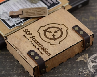 SCP Foundation Logo box Thaumiel class object Engraved Wood Gift Box SCP Accessories