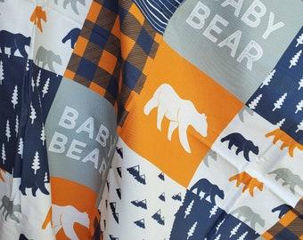 Handmade woodland baby quilt boy, bear baby quilt boy, Orange and navy