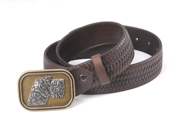 Leather Hunting Belts with D. Drahthaar head buckles.
