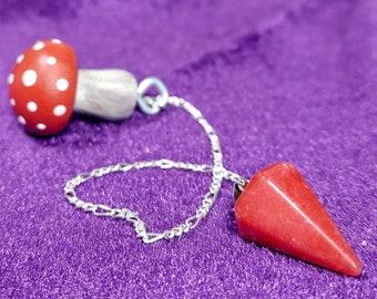 RED JASPER PENDULUM on Silver-toned Chain w/ Painted Mushroom Handle - Divination Tool - Handmade Scrying Tool - Fortune Telling Pendulum