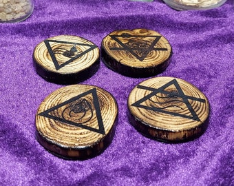 FOUR ELEMENT TOKENS - Handmade Birchwood Altar Tiles - Ritual Tools - Witch Pagan Gift - Earth, Air, Water, and Fire Elemental Wood Trinkets